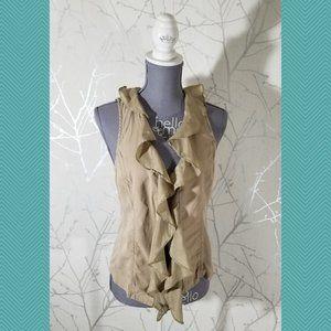 Cache Beige Tencel Ruffled Open Front Vest